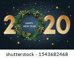 happy new year 2020 text design.... | Shutterstock .eps vector #1543682468