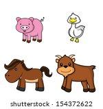 farm animal set.pig.duck.horse... | Shutterstock . vector #154372622