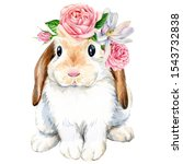 Poster  Cute Bunny With Roses...