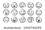 hand drawn ink emojis faces....   Shutterstock .eps vector #1543744295