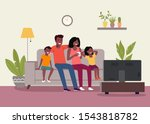 mother and father with children ... | Shutterstock .eps vector #1543818782