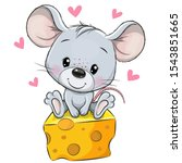 cute cartoon mouse is sitting... | Shutterstock .eps vector #1543851665