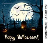 happy halloween greeting card... | Shutterstock .eps vector #154385492