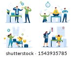 set flat 2d concepts time of... | Shutterstock .eps vector #1543935785