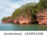 Wide angle view of the Apostle Islands Meyers Beach sea caves in the fall season