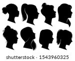 woman heads in profile.... | Shutterstock .eps vector #1543960325