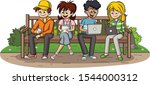 group of cartoon young people... | Shutterstock .eps vector #1544000312