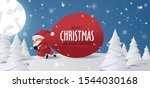 santa claus with a huge bag on... | Shutterstock .eps vector #1544030168