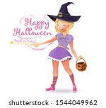 cute girl in a witch costume... | Shutterstock .eps vector #1544049962