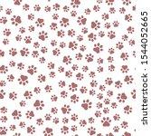 seamless pet paw pattern... | Shutterstock .eps vector #1544052665
