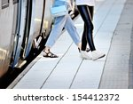 passengers departs commuter... | Shutterstock . vector #154412372