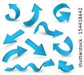 seto of blue vector arrow on... | Shutterstock .eps vector #154418642