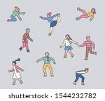 people who skate happily on the ... | Shutterstock .eps vector #1544232782
