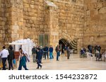 Small photo of Wailing Wall. (HaKotel HaMa'aravi) is also known as the Western Wall of the great temple in Jerusalem, which is considered holy by the Jews. Philistine, Al Aqsa mosque. 04/13/2018