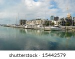 yacht parks outside luxury... | Shutterstock . vector #15442579