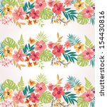 Stripe Tropical Flower Vector...