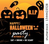 happy halloween party... | Shutterstock .eps vector #1544423528