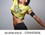 beautiful fitness woman  studio ... | Shutterstock . vector #154445606