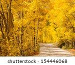 Mountain road on sunny Autumn day on Boreas Pass, Colorado. - stock photo
