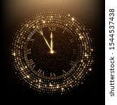 golden shiny clock vector... | Shutterstock .eps vector #1544537438