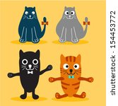 set of various cute cats | Shutterstock .eps vector #154453772