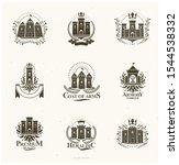 ancient citadels emblems set.... | Shutterstock .eps vector #1544538332