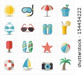 summer and beach icons | Shutterstock .eps vector #154454222