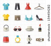 fashion and clothes icons | Shutterstock .eps vector #154454282