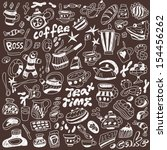 coffee and sweets   doodles... | Shutterstock .eps vector #154456262