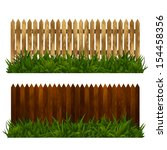 Wooden Fence Set With Grass