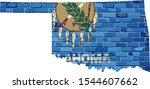 Oklahoma Map On A Brick Wall  ...