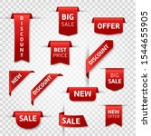 red ribbon labels. big sale ... | Shutterstock .eps vector #1544655905