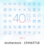 40 trendy thin icons for web... | Shutterstock .eps vector #154465718