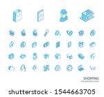 isometric line icon set. 3d... | Shutterstock .eps vector #1544663705