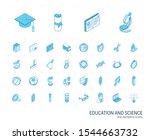 isometric line icon set. 3d... | Shutterstock .eps vector #1544663732