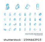isometric line icon set. 3d... | Shutterstock .eps vector #1544663915