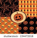 halloween seamless with skull ... | Shutterstock .eps vector #154472018