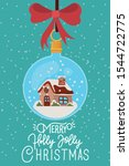 happy mery christmas card with...   Shutterstock .eps vector #1544722775