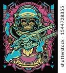 skull astronaut holding laser... | Shutterstock .eps vector #1544728355