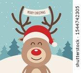 reindeer red nosed cute cartoon ... | Shutterstock .eps vector #1544742305