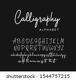 modern calligraphy alphabet.... | Shutterstock .eps vector #1544757215