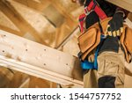 Wood Elements Construction Worker. House Building Industrial Theme. - stock photo