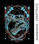 t rex dynosaur fossil t shirt...   Shutterstock .eps vector #1544779172
