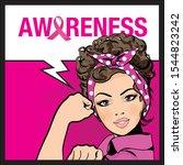 pop art woman. breast cancer... | Shutterstock .eps vector #1544823242