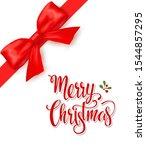 red corner bow for christmas.... | Shutterstock .eps vector #1544857295