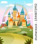 cute cartoon castle. fairytale... | Shutterstock .eps vector #1544872952