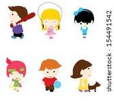 six little children with... | Shutterstock .eps vector #154491542