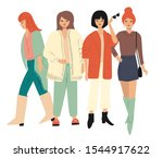 four young women in autumn... | Shutterstock .eps vector #1544917622