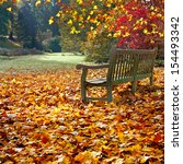 Bench In Autumn Park. Autumn...