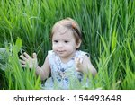 little cute happy baby girl... | Shutterstock . vector #154493648